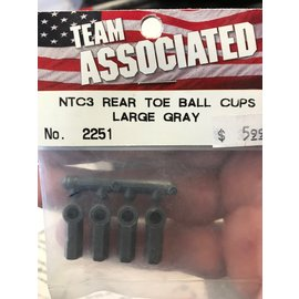 Team Associated ASC 2251 Rear Toe Ball Cups,Large Gray (4):NTC3