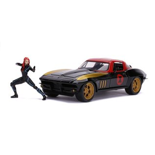 JADA TOYS JAD 31749 BLACK WIDOW & 1966 CHEVY CORVETTE 1/24 die cast