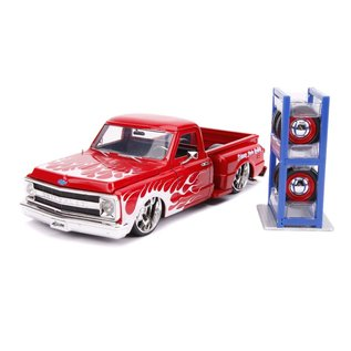 JADA TOYS JAD 31397 CHEVROLET C10 STEPSIDE 1969 RED WITH EXTRA WHEELS