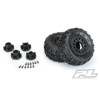 """Proline Racing PRO 1190-10 Trencher X SC 2.2""""/3.0"""" All Terrain Tires Mounted for Slash 2wd & Slash 4x4 Front or Rear, Mounted on Raid Black 6x30 Removable Hex Wheels"""