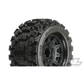 "Proline Racing PRO 1012510 Badlands MX28 2.8"" All Terrain Tires Mounted for Stampede 2wd & 4wd Front and Rear, Mounted on Raid Black 6x30 Removable Hex Wheels"