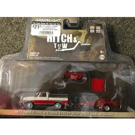GREENLIGHT COLLECTABLES GLC 32200-A FORD F-100 & UTILITY TRAILER WITH 1920 INDIAN SCOUT