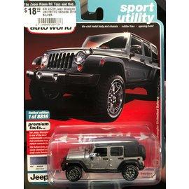 AUTOWORLD AW 03728 Jeep Wrangler UNLIMITED SAHARA 2018 SILVER