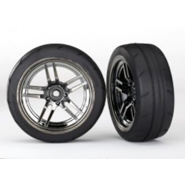 TRAXXAS TRA 8373 Tires and wheels, assembled, glued (split-spoke black chrome wheels, 1.9' Response tires) (front) (2)