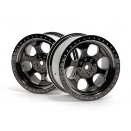 HPI RACING HPI 3161  6 SPOKE WHEEL BLACK CHROME (83x56mm/2pcs)  Savage/for 14mm Hex Wheel Hub/Black Chrome