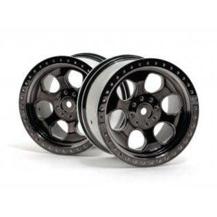 HPI RACING HPI 3161  6 SPOKE WHEEL BLACK CHROME (83x56mm/2pcs)  Savage/for 14mm Hex Wheel Hub/Black Chrome