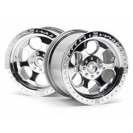 HPI RACING HPI 3117 6 SPOKE WHEEL SHINY CHROME (83x56mm/2pcs)  Savage/for 14mm Hex Wheel Hub/Shiny Chrome