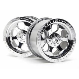 HPI RACING HPI 3117 6 SPOKE WHEEL SHINY CHROME (83x56mm/2pcs)  Savage/for 14mm Hex Wheel Hub/Shiny Chrome