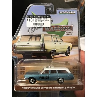 GREENLIGHT COLLECTABLES GLC 29990-C 1970 PLYMOUTH BELVEDERE POLICE EMERGENCY WAGON SERIES 5 ESTATE WAGONS 1/64