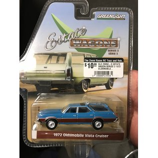 GREENLIGHT COLLECTABLES GLC 29950-D ESTATE WAGON SERIES 3 1972 OLDSMOBILE VISTA CRUISER BLUE