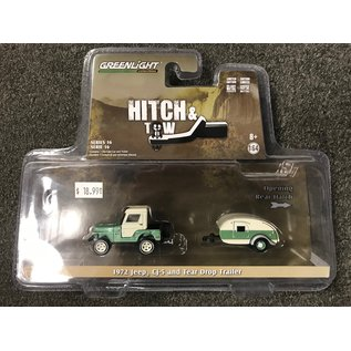GREENLIGHT COLLECTABLES GLC 32160 HITCH AND TOW SERIES 16 JEEP 1972 CJ5 AND TEAR DROP TRAILER 1/64