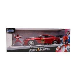 JADA TOYS JAD 31908 RED RANGER & 2009 Nissan GT-R (R35) RED 1/24 DIECAST