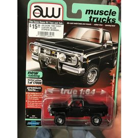 AUTOWORLD AW 04380 1980 CHEVY CUSTOM DELUXE STEPSIDE (MIDNIGHT BLACK) A 1:64
