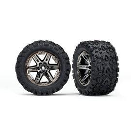 TRAXXAS TRA 6773X Tires & wheels, assembled, glued (2.8') (RXT black chrome wheels, Talon Extreme tires, foam inserts) (2) (TSM rated)