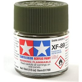 TAMIYA TAM XF89 Acrylic Mini XF-89 Dark Green 2, 10ml Bottle