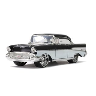 JADA TOYS JAD 32299 1957 CHEVY BEL AIR BLACK/WHITE 1/24 DIECAST