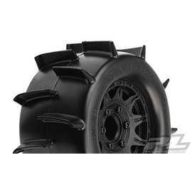 "Proline Racing PRO 1186-10 Sand Paw 2.8"" Sand Tires Mounted on Raid Black 6x30"