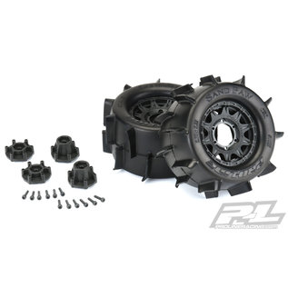 "Proline Racing PRO 1186-10 Sand Paw 2.8"" Sand Tires Mounted on Raid Black 6x30"