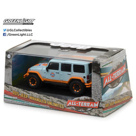 GREENLIGHT COLLECTABLES GLC 86089 JEEP UNLIMITED WRANGLER 2015 GULF COLORS 1:43 (SLIGHT FADE TO REAR OF BOX)