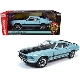 AUTOWORLD AMM 1181 1969 Ford Mustang MACH 1 (CLASS OF 1969) AQUA 1/18