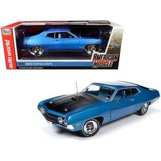 AUTOWORLD AMM 1189 1970 FORD TORINO COBRA BLUE METALLIC 1/18 DIECAST