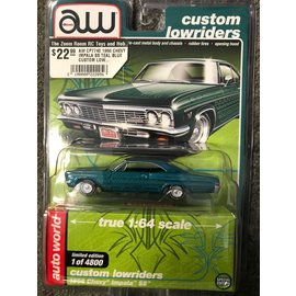 AUTOWORLD AW CP7740 1966 CHEVY IMPALA SS TEAL BLUE CUSTOM LOWRIDERS