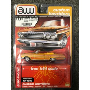 AUTOWORLD AW CP7739 1962 CHEVY IMPALA SS CONVERTIBLE GOLD CUSTOM LOWRIDERS