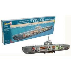 REVELL GERMANY REV 05078 TYPE XXI U-BOOT/INTERIOR 1/144 MODEL KIT
