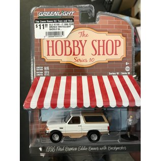 GREENLIGHT COLLECTABLES GLC 97100-F 1996 FORD BRONCO WHITE/LIGHT SADDLE Eddie Bauer WITH BACKPACKER