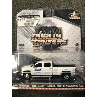 GREENLIGHT COLLECTABLES GLC 46060-A 2017 CHEVROLET SILVERADO 3500HD WHITE 101st RUNNING INDY 500 DUALLY DRIVERS SERIES 6