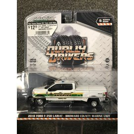 GREENLIGHT COLLECTABLES GLC 46060-C 2018 Ford F-350 LARIAT - BROWARD COUNTY MARINE UNIT DUALLY DRIVERS SERIES 6