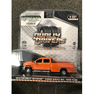 GREENLIGHT COLLECTABLES GLC 46060-B 2018 CHEVROLET SILVERADO 3500HD SERVICE BED - SNOW PLOW DUALLY DRIVERS SERIES 6