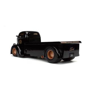 JADA TOYS JAD 32314 1947 FORD COE FLATBED BLACK W/TIRE RACK 1/24 DIECAST