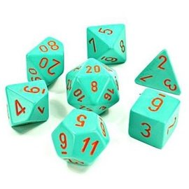 CHESSEX CHX 30039 HEAVY TURQUOISE/ORANGE POLYHEDRAL 7-DIE SET