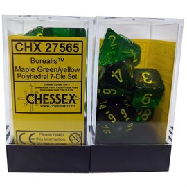 CHESSEX CHX 27565 MAPLE GREEN YELLOW DICE 7 PACK