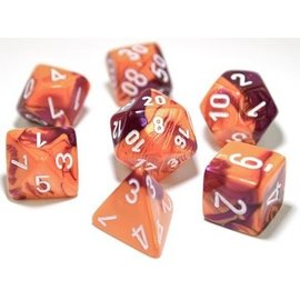 DUNGEONS & DRAGONS CHX 30021 LAB DICE 3: GEMINI 7PC ORANGE-PURPLE/WHITE