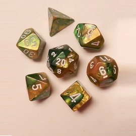 CHESSEX CHX 26425 GOLD GREEN DICE 7 PACK