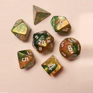 CHESSEX CHX 26425 GOLD GREEN DICE 7 PACK