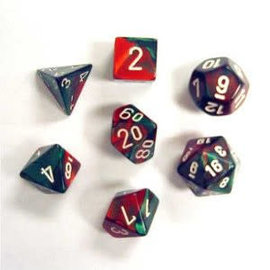 CHESSEX CHX 26431 GEMINI 7 PACK GREEN RED DICE