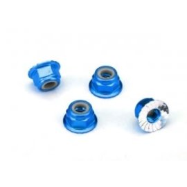 TRAXXAS TRA 1747R Nuts Flanged Nylon Locking 4mm Blue (4)