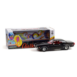 GREENLIGHT COLLECTABLES GLC 13585 1970 Dodge Challenger R/T 440 6-PACK (BLACK W/RED INTERIOR & DELUX WHEEL COVERS)