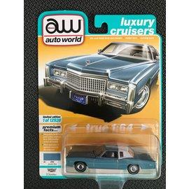 AUTOWORLD AW 4558B 1975 CADILLAC ELDORADO JENNIFER BLUE/FLAT WHITE ROOF BACK