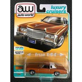 AUTOWORLD AW 4552A 1975 CADILLAC ELDORADO MANDARIN ORANGE POLY W/FLAT WHITE ROOF BACK