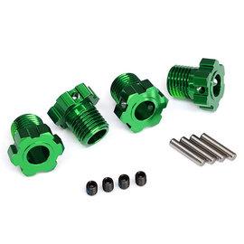 TRAXXAS TRA 8654G Wheel hubs, splined, 17mm (green-anodized) (4)/ 4x5 GS (4)/ 3x14mm pin (4)