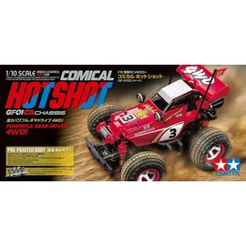 TAMIYA TAM 58685 COMICAL HOTSHOT GF-01CB CHASSIS W / RED PRE-PAINTED BODY