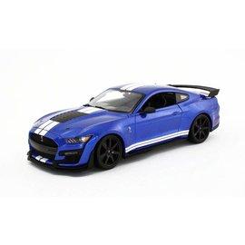 MAISTO MAI 31388-BL 2020 MUSTANG SHELBY GT500 BLUE W/WHITE STRIPES