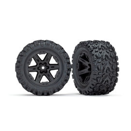 TRAXXAS TRA 6773 Tires & wheels, assembled, glued (2.8') (RXT black wheels, Talon Extreme tires, foam inserts) (4WD electric front/rear, 2WD electric front only) (2) (TSM rated)