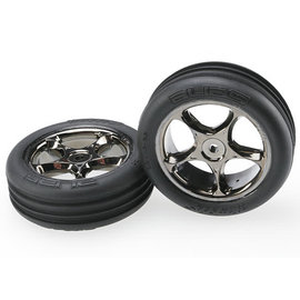 TRAXXAS TRA 2471A Tires & wheels, assembled (Tracer 2.2' black chrome wheels, Alias ribbed 2.2' tires) (2) (Bandit front, medium compound w/ foam inserts)