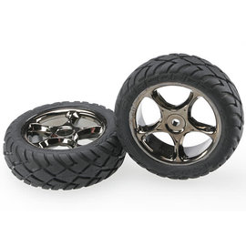 TRAXXAS TRA 2479A Tires & wheels, assembled (Tracer 2.2' black chrome wheels, Anaconda 2.2' tires with foam inserts) (2) (Bandit front)