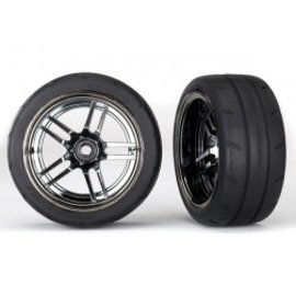 TRAXXAS TRA 8374 Tires and wheels, assembled, glued (split-spoke black chrome wheels,1.9' Response tires) (extra wide, rear) (2)